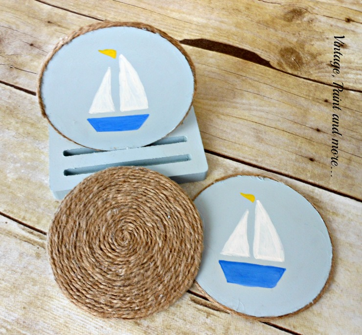 Vintage, Paint and more... painted and stenciled coasters with wrapped twine side