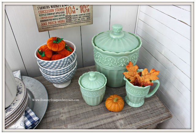 Fall Breakfast Nook Decor-Pioneer Woman-Timeless Beauty-Jadeite-Cookie-Jar-Sugar-Creamer-Mini-Pumpkins-From My Front Porch To Yours
