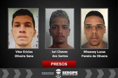 Três homens são presos acusados de roubos de veículos em Sergipe