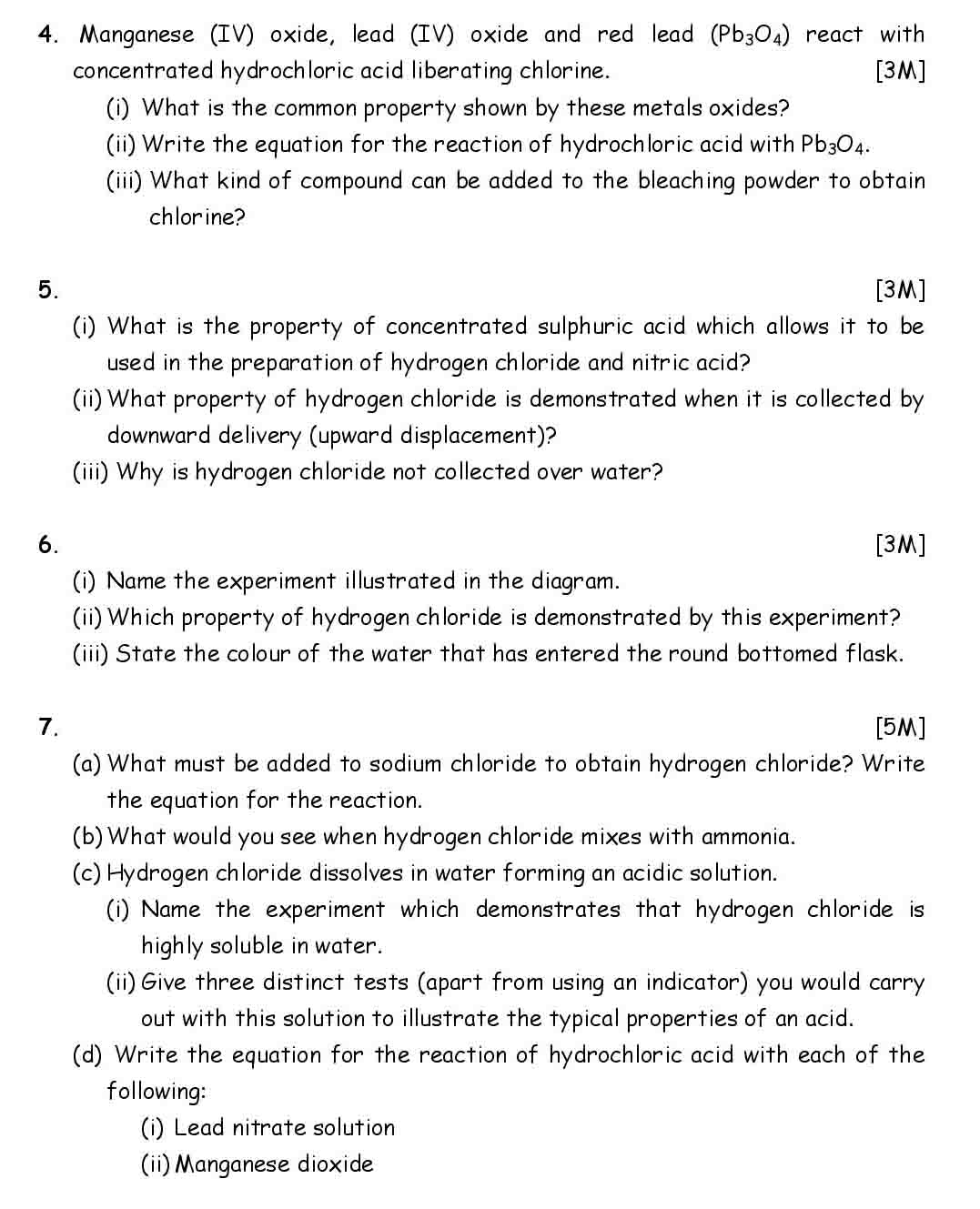ICSE Chemistry Chapter Wise Important Questions Class 10