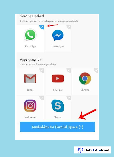 Klik Add App To Paralllel Space