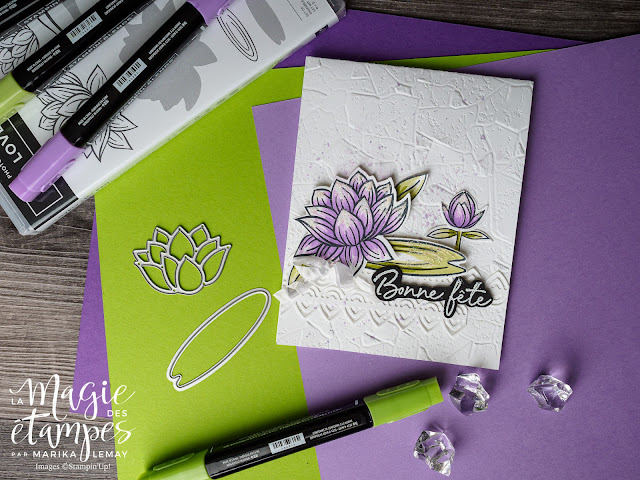 Carte avec la prime Sale-a-Brartion Lovely lily pad et poinçons nénuphar