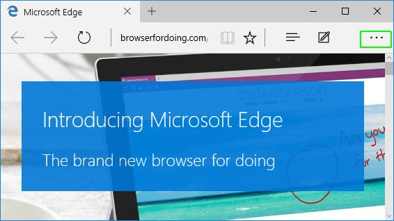 bagian menu pada Microsoft Edge di Windows 10
