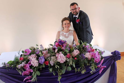 Rich Purples and Vibrant Pink shades for Frances & Craig's 'American Road Trip' inspired Wedding at Beeston Manor