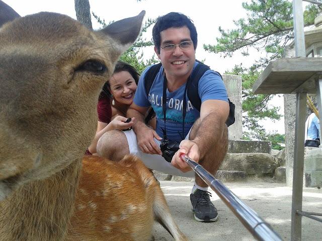 Selfie com veado na ilha de Miyajima, Japão