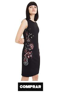 Vestido para Mujer color negro, con bordado flores