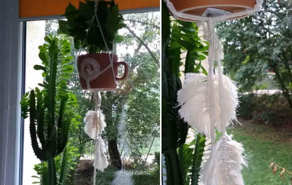 makrama z białego sznurka