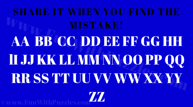 In this Find the Mistake Puzzle Image, your challenge is to find the mistake in the given puzzle picture