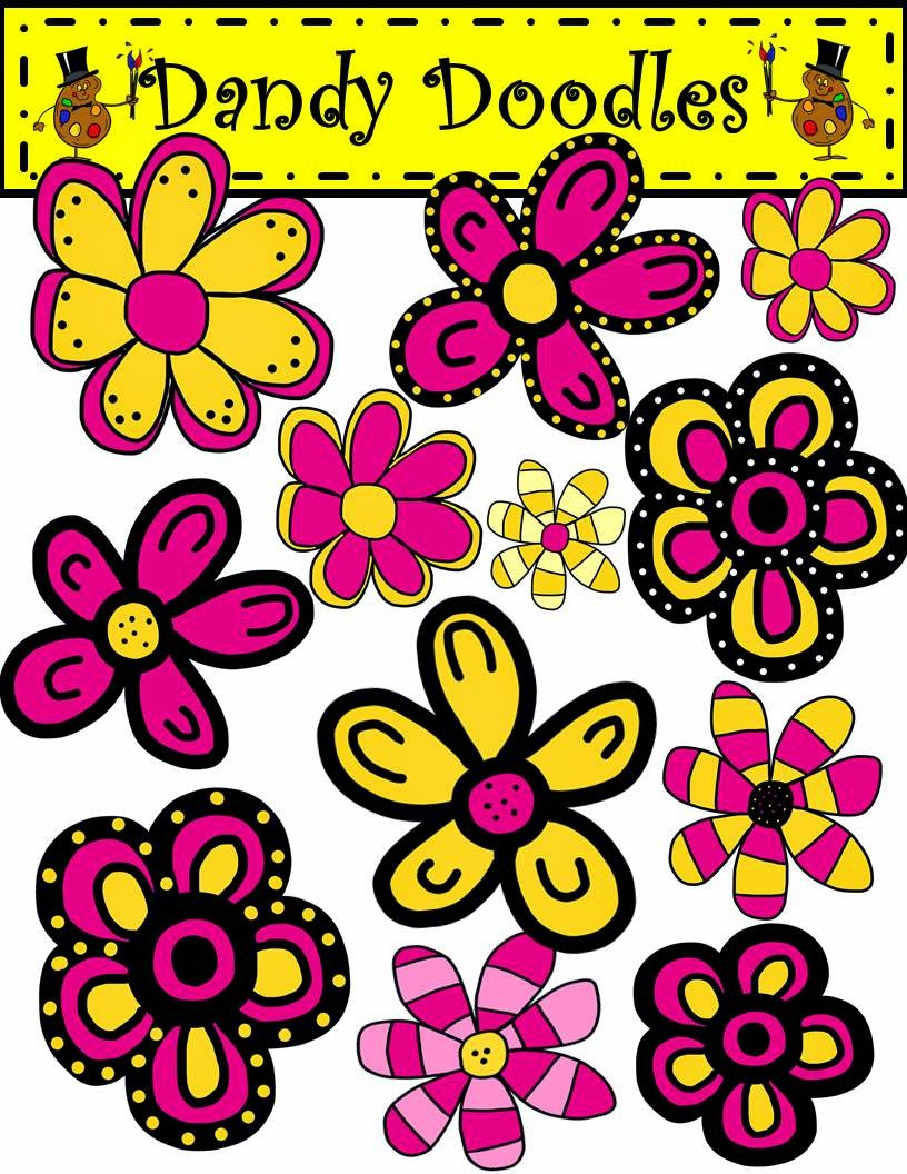 http://www.teacherspayteachers.com/Product/Funky-Flowers-Pink-and-Yellow-Clip-Art-by-Dandy-Doodles-1657827