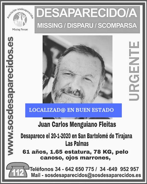 Localizan en buen estado desaparecido San Bartolomé de Tirajana Juan Carlos menguiano