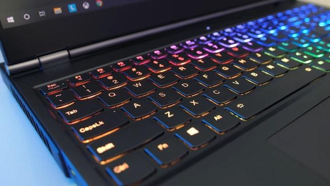 The Legion 7i's keyboard has per-key RGB backlighting.