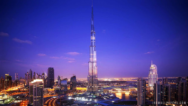 The Burj Khalifa in Dubai. It stands at 2,716.5 feet tall and has more than 160 stories.
