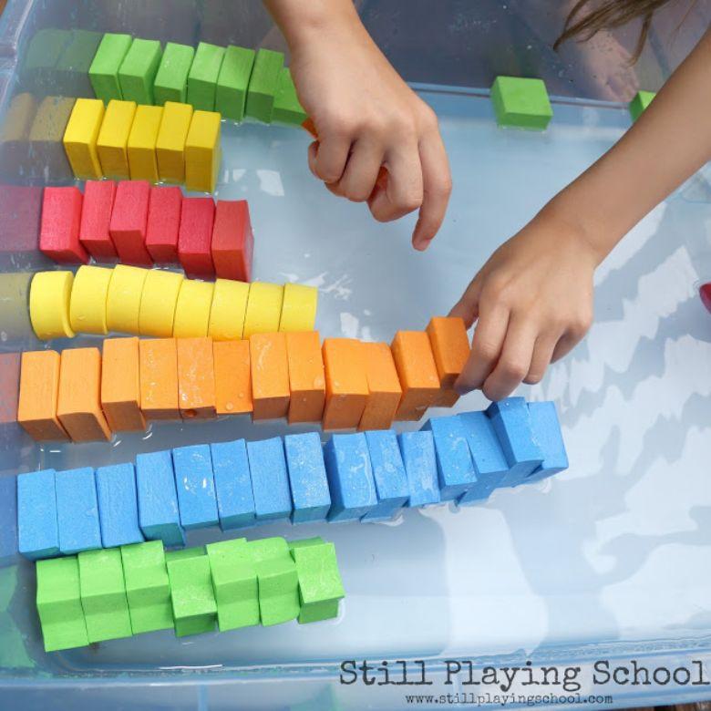 foam blocks and water activity for preschoolers