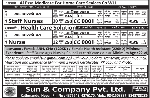 Jobs For Nepali In Kuwait, Salary -Rs.88,000/