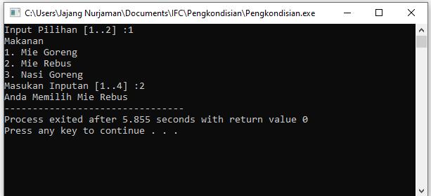 If Bersarang Pengkondisian atau Penyeleksian C++