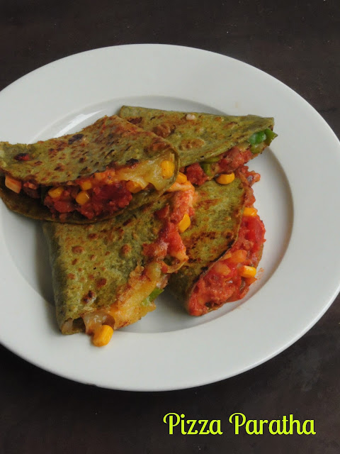 Pizza with Spinach Paratha,Pizza Paratha
