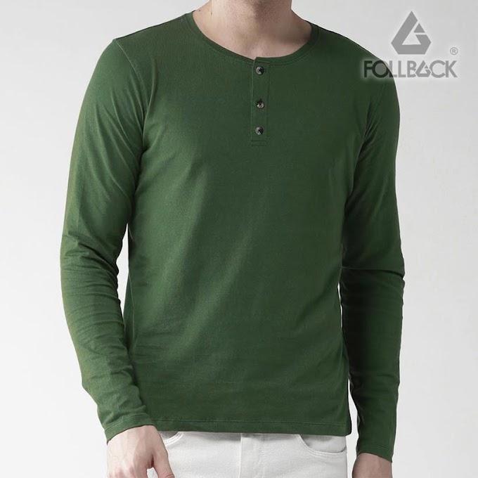 Kaos Kancing Pria Lengan Panjang Henley Roxy Green Army