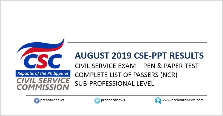 NCR Passers Subprof: August 2019 Civil service exam result CSE-PPT