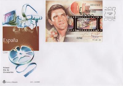 Sobre PDC del Sello dedicado al cine y a Antonio Banderas en la exposición mundial de filatelia de 2000