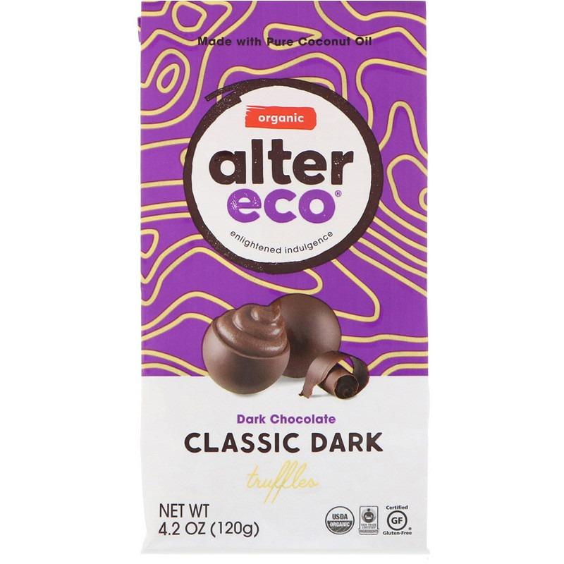Alter Eco, Органические классические трюфели, черный шоколад, 120 г (4,2 унции)
