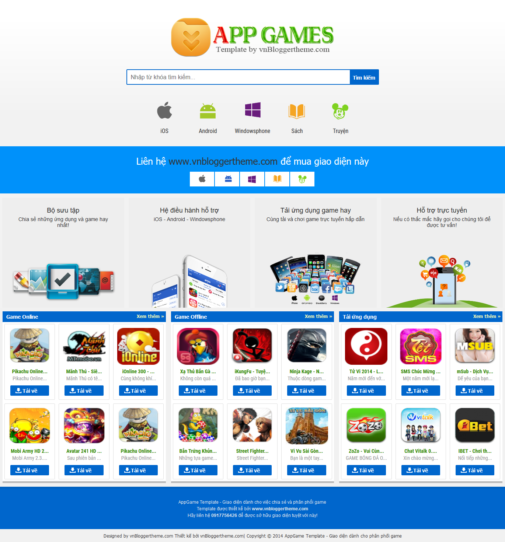 AppGames Template - Mẫu template mobile phân phối game cho Blogspot