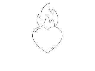 Draw a flame on top of the heart
