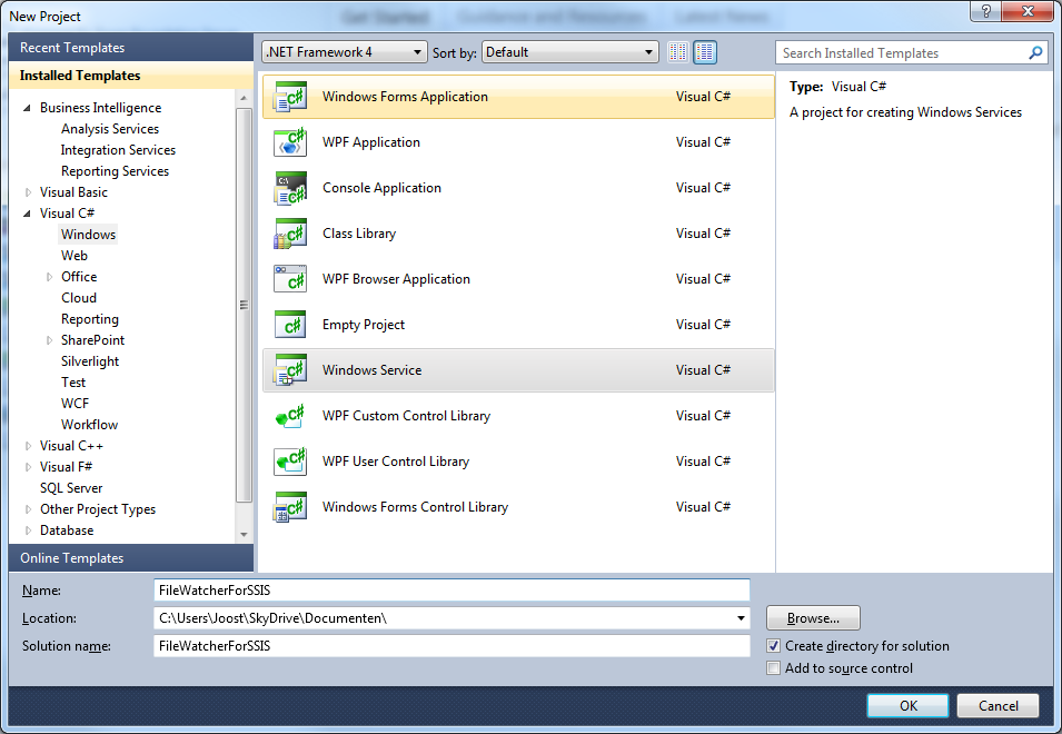 ssis framework template - microsoft sql server integration services create windows