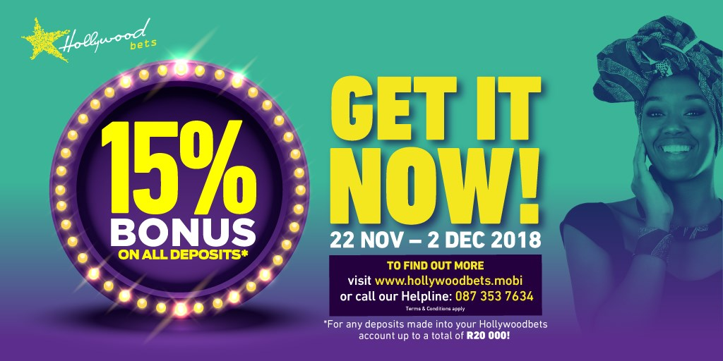 Summer Cup 15% Deposit Bonus - Get it now at Hollywoodbets - 22 November to 2 December 2018