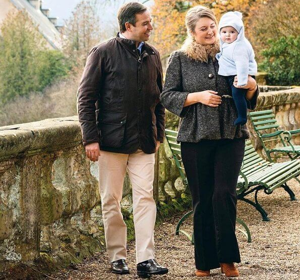 Prince Charles and Prince Guillaume. Princess Stephanie wore a wool cashmere coat with faux fur collar from Ralph Lauren, and black trousers