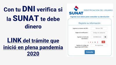 LINK de Devolución de impuestos que SUNAT devolverá Consultar con DNI