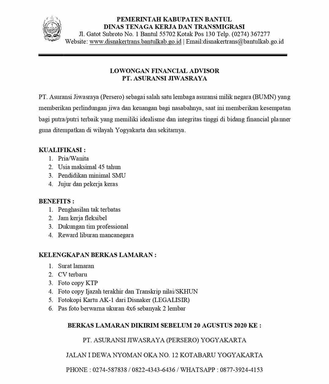 Lowongan Kerja SMA PT Asuransi Jiwasraya (Persero) Tahun 2020