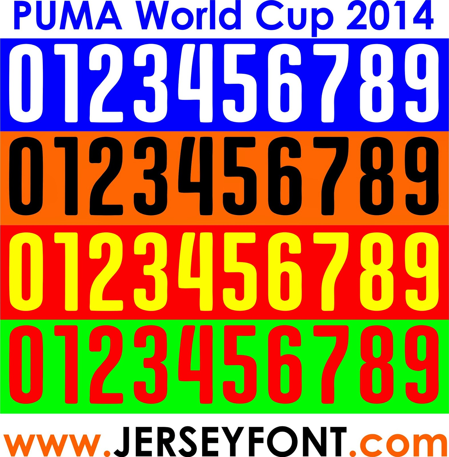 puma world cup 2014 font number vector jerseyfont com