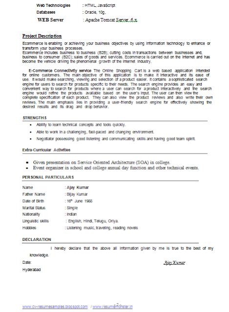 resume - Bca Resume Format For Freshers