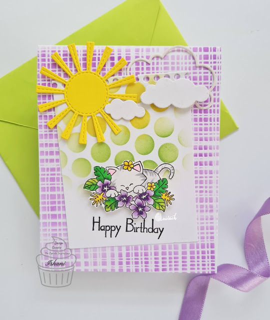 Happy Birthday by Ishani features Aloha Newton by Newton's Nook Designs; #newtonsnook, #inkypaws, #catcard, #cardmaking