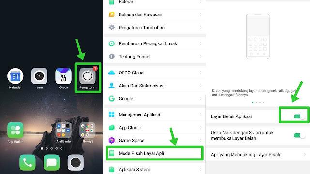 cara membuka 2 aplikasi sekaligus di oppo