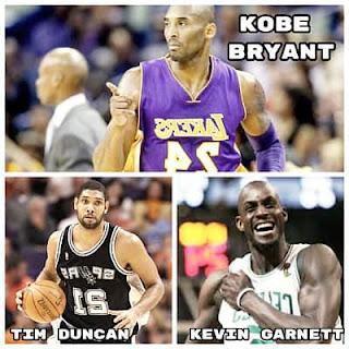 Kobe Bryant, Tim Duncan, Kevin Garnett  rumbo al Salón de la Fama
