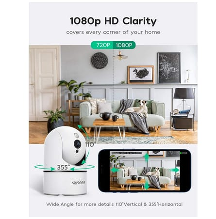 winees Indoor Security Camera with Audio and Night Vision