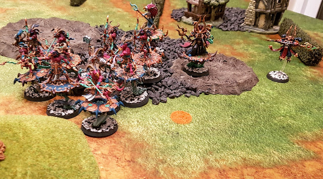 Warhammer 40k battle report - Eternal War -  Narrow The Search - 1000 points - The Purge & Daemons of Nurgle vs Thousand Sons & The Scourged