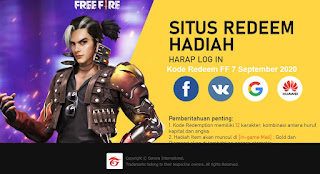 Kode Redeem FF 7 September 2020