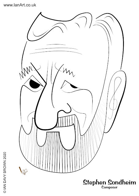 Stephen Sondheim composer caricature cartoon by Ian Davy Brown
