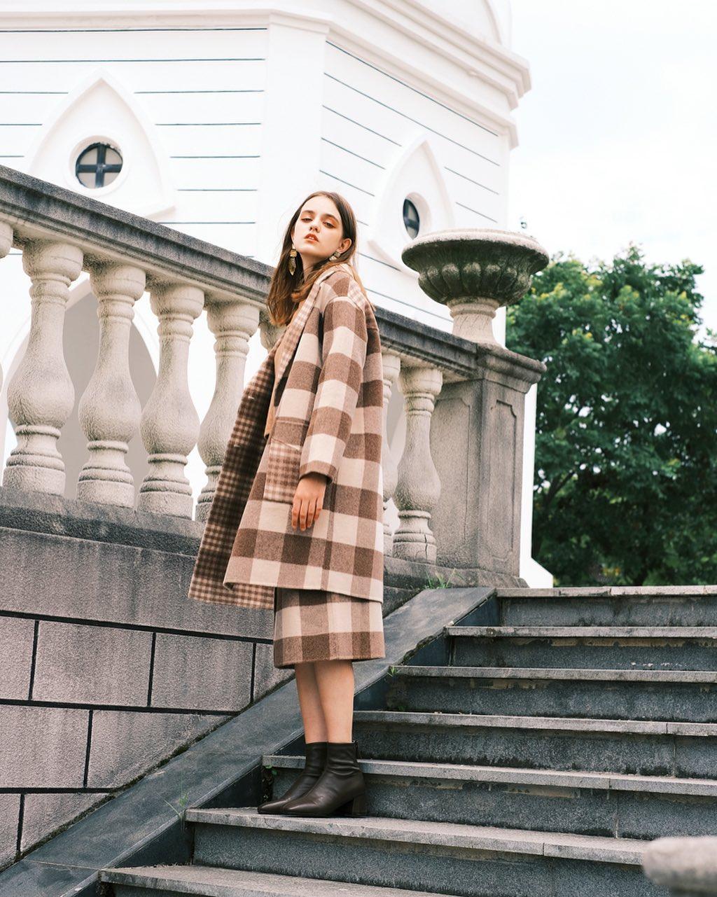 Brown plaid coat