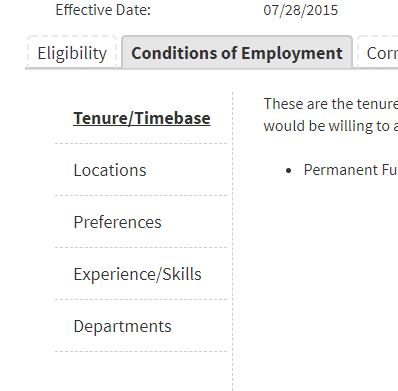 Image of the Conditions of Employment candidates select within their CalCareer account