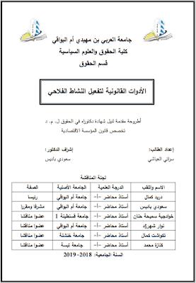 أطروحة دكتوراه: الأدوات القانونية لتفعيل النشاط الفلاحي PDF