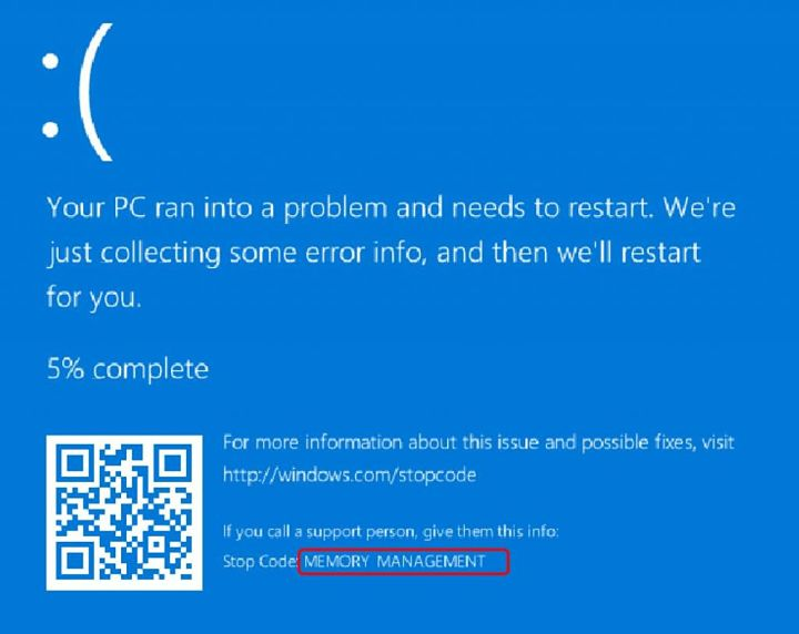 pantalla azul memory management como repararlo