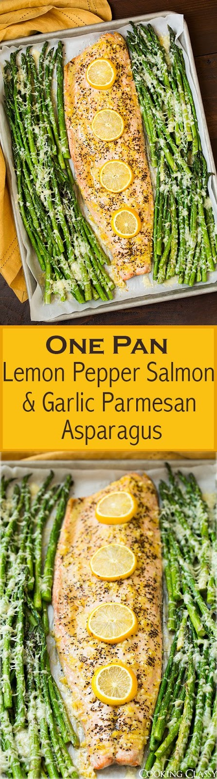 This is one of the easiest dinners you can make! A side of salmon is seasoned with lemon, pepper and garlic and baked along with a side of parmesan asparagus. Such a tasty one pan dinner!