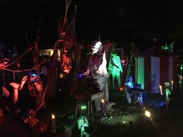 Spooky details put the fright into a Halloween yard display in Arlington Heights, IL