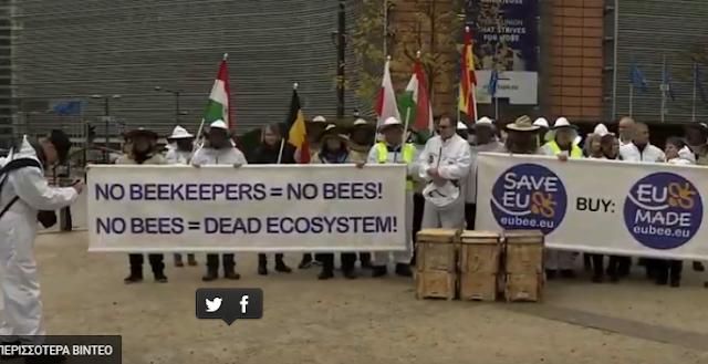 Διαμαρτυρία μελισσοκόμων στις Βρυξέλλες