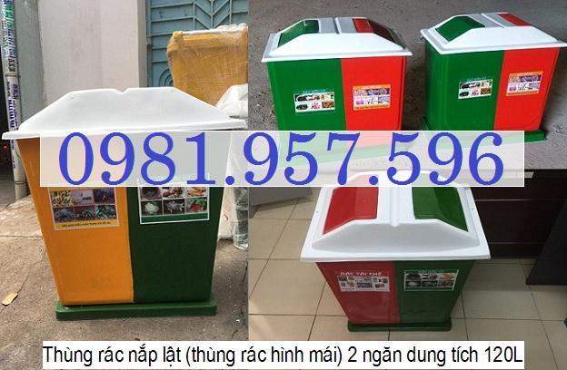 Thùng rác nhựa hai ngăn, thùng rác chất liệu composite