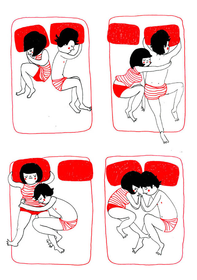 Heartwarming Illustrations Show That True Love Is In The Little Everyday Things - It is hugging each other accidentally while sleeping
