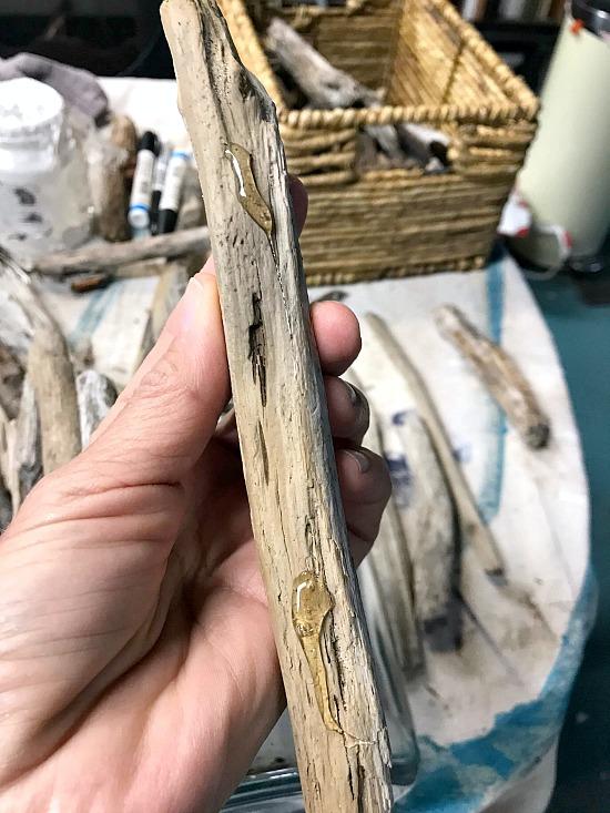 Driftwood stick with hot glue